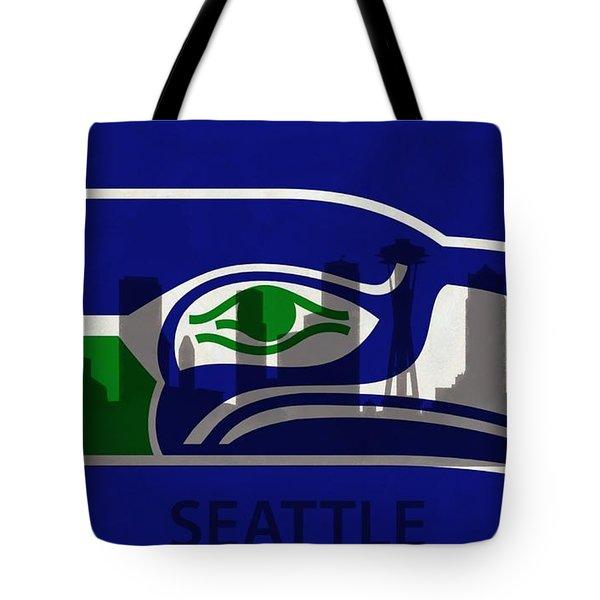 Seattle Seahawks On Seattle Skyline Tote Bag by Dan Sproul