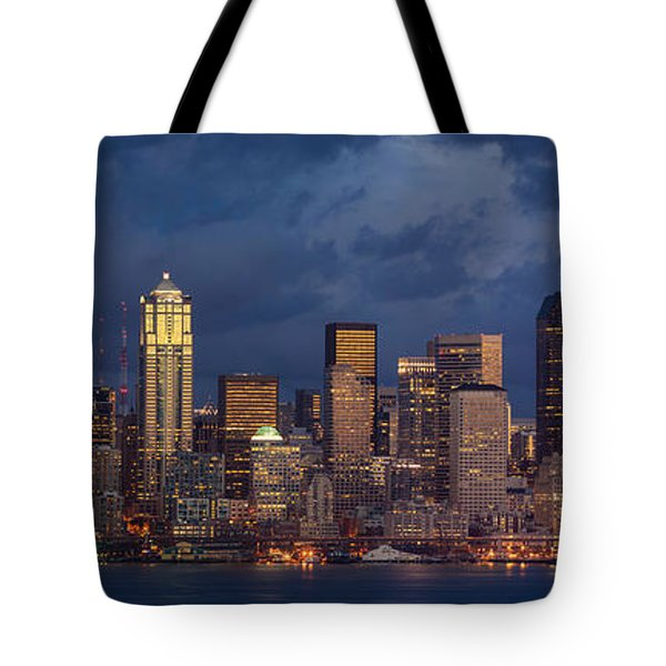 Seattle Skyline Sunset Detail Tote Bag by Mike Reid
