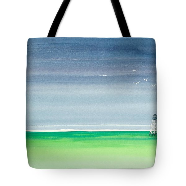 Seeking Refuge Before The Storm Alligator Reef Lighthouse Tote Bag by Michelle Wiarda