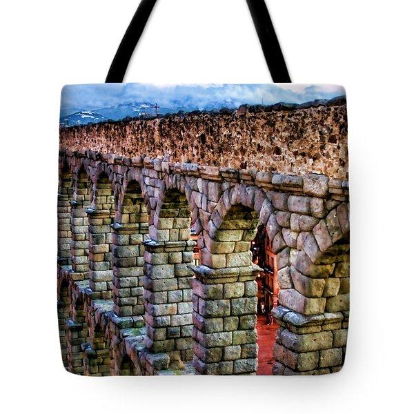 Segovia Aqueduct Spain By Diana Sainz Tote Bag by Diana Sainz