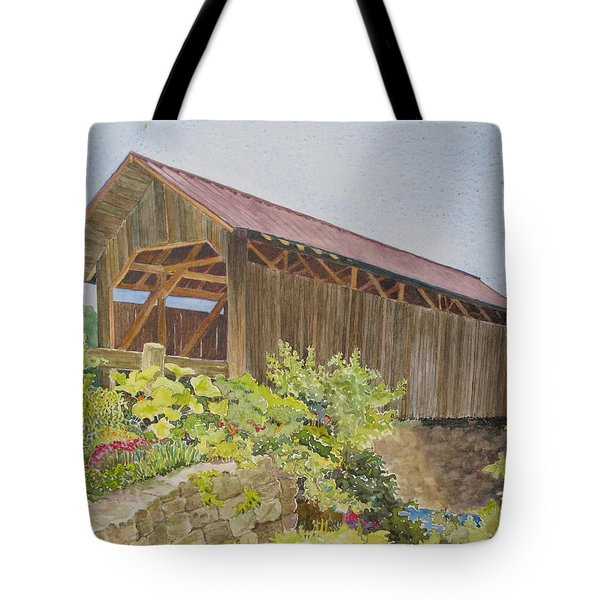 Seguin Covered Bridge In Charlotte Vermont Tote Bag by Mary Ellen  Mueller Legault