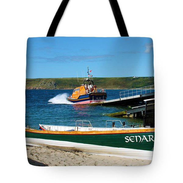 Sennen Cove Lifeboat And Pilot Gigs Tote Bag by Terri Waters