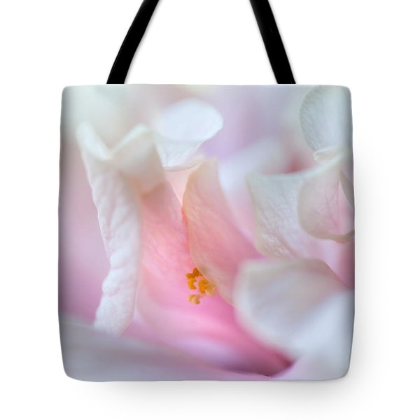 Sensuality. Peach Hibiscus. Macro Tote Bag by Jenny Rainbow