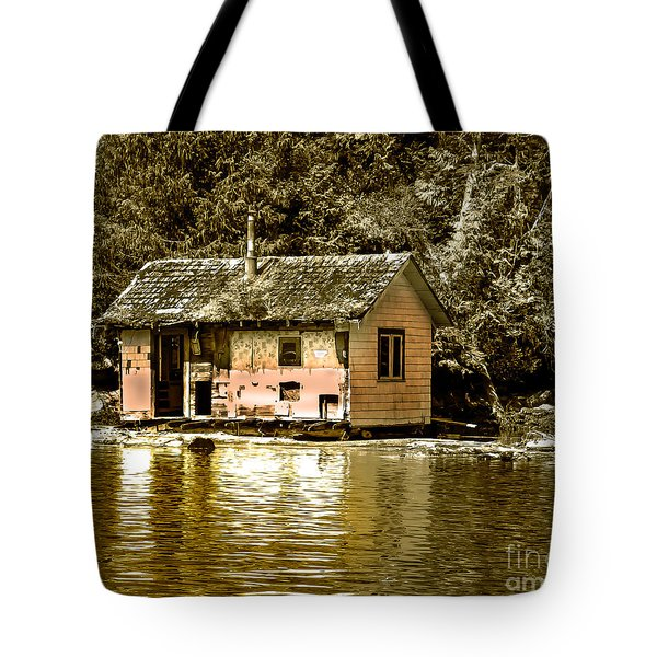Sepia Floating House Tote Bag by Robert Bales