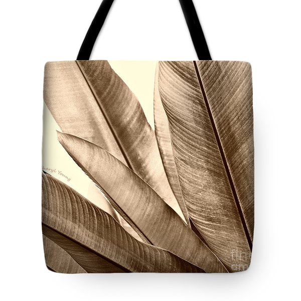 Sepia Leaves Tote Bag by Cheryl Young