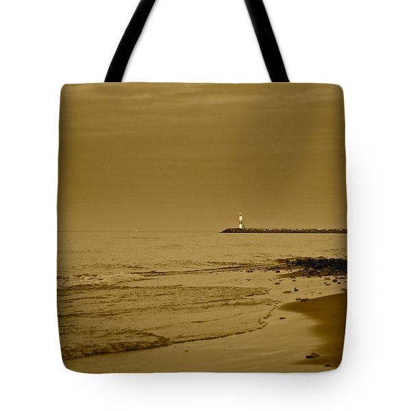 Sepia Lighthouse Tote Bag by Frozen in Time Fine Art Photography