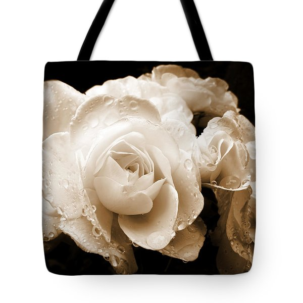 Sepia Roses with Rain Drops Tote Bag by Jennie Marie Schell