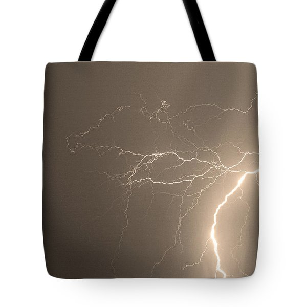 Sepia Tropical Thunderstorm Night  Tote Bag by James BO  Insogna