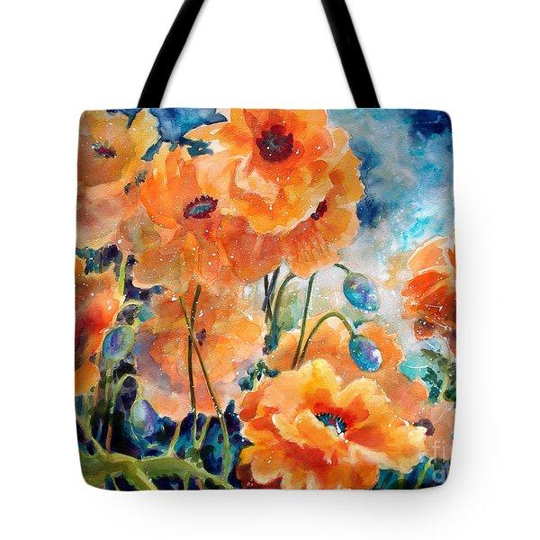 September Orange Poppies Tote Bag by Kathy Braud