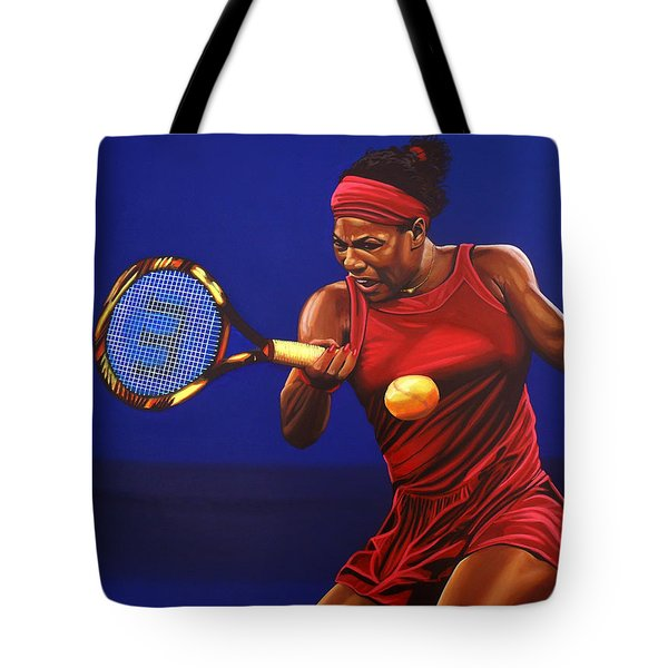 Serena Williams Painting Tote Bag by Paul Meijering