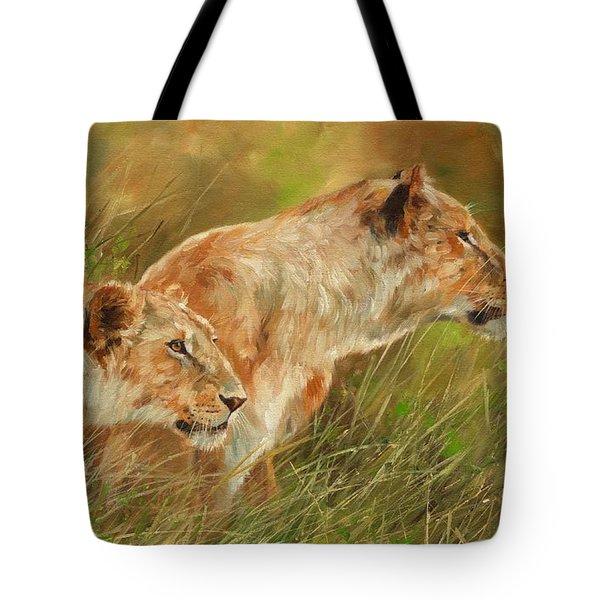 Serengeti Sisters Tote Bag by David Stribbling