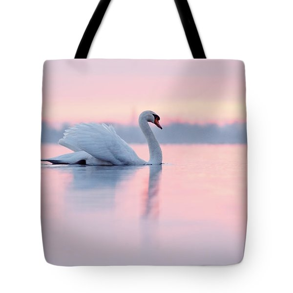 Serenity   Mute Swan At Sunset Tote Bag by Roeselien Raimond