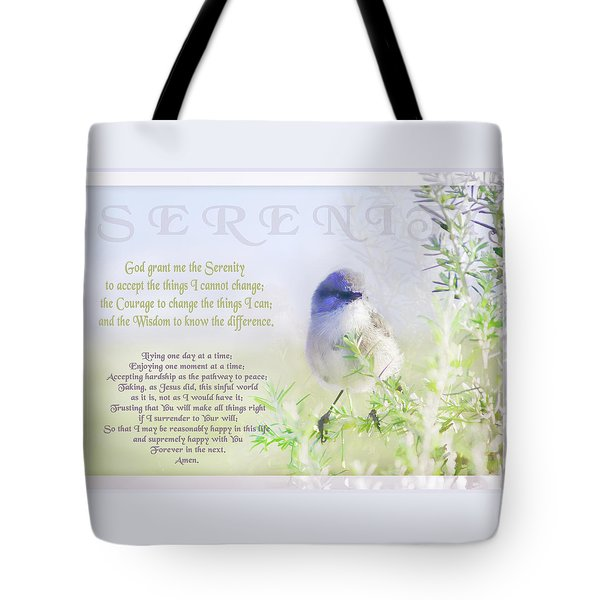 Serenity Prayer Tote Bag by Holly Kempe