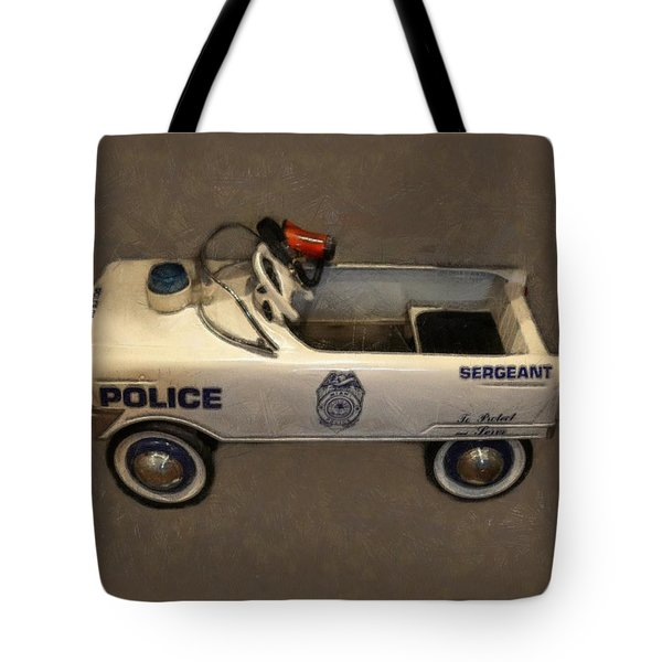 Sergeant Pedal Car Tote Bag by Michelle Calkins