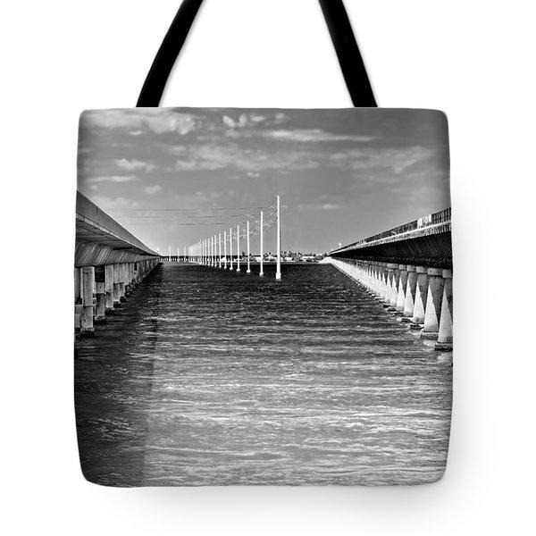 seven mile bridge BW Tote Bag by Rudy Umans