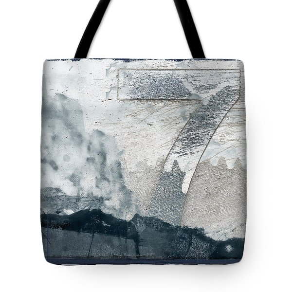 Seven On Blue Tote Bag by Carol Leigh