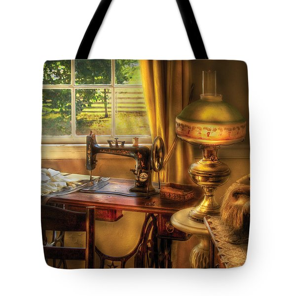 Sewing Machine - Domestic Sewing Machine Tote Bag by Mike Savad