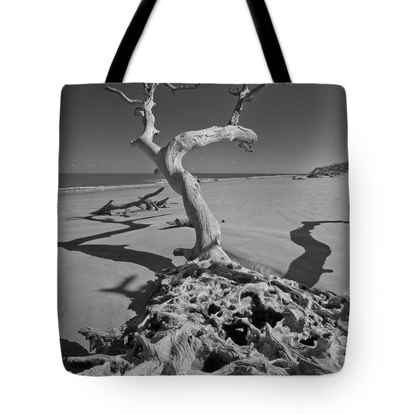 Shadows At Driftwood Beach Tote Bag by Debra and Dave Vanderlaan
