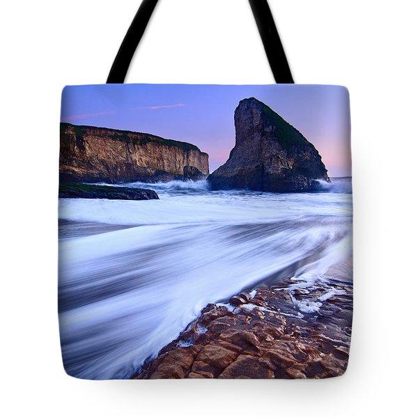Shark Fin Tide - Santa Cruz California Tote Bag by Jamie Pham
