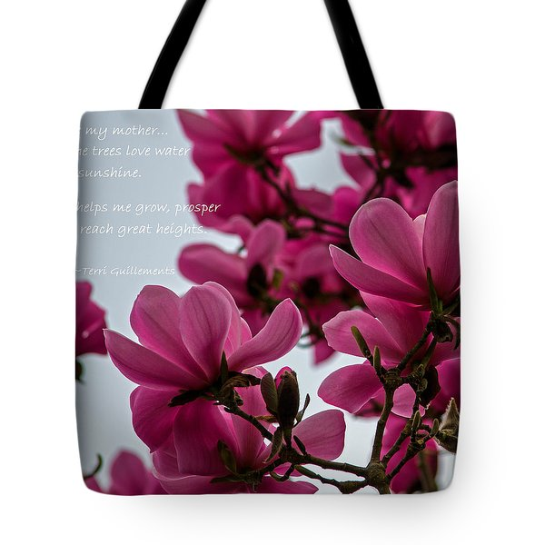 She Helps Me Grow - Mother's Day Tote Bag by Jordan Blackstone
