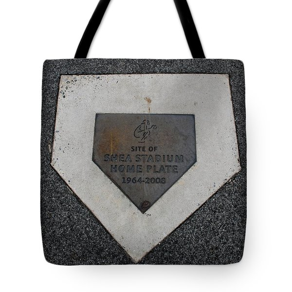 Shea Stadium Home Plate Tote Bag by Rob Hans