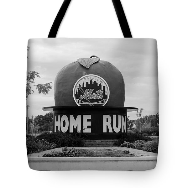 Shea Stadium Home Run Apple In Black And White Tote Bag by Rob Hans
