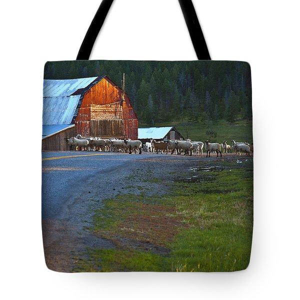 Sheep Crossing Tote Bag by Theresa Tahara