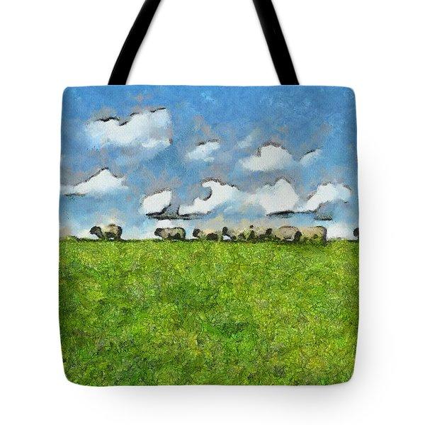 Sheep Herd Tote Bag by Ayse Deniz