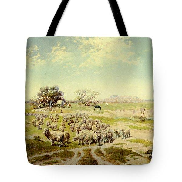 Sheepherding Montana Tote Bag by Olaf Seltzer