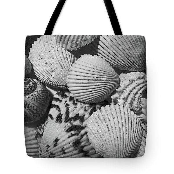 Shells In Black And White Tote Bag by Mary Bedy