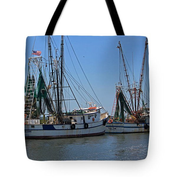 Shem Creek Shrimpers Tote Bag by Suzanne Gaff