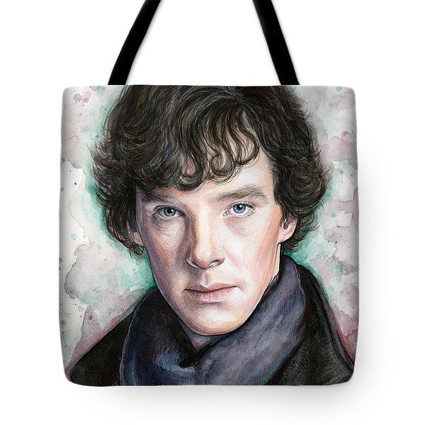 Sherlock Holmes Portrait Benedict Cumberbatch Tote Bag by Olga Shvartsur