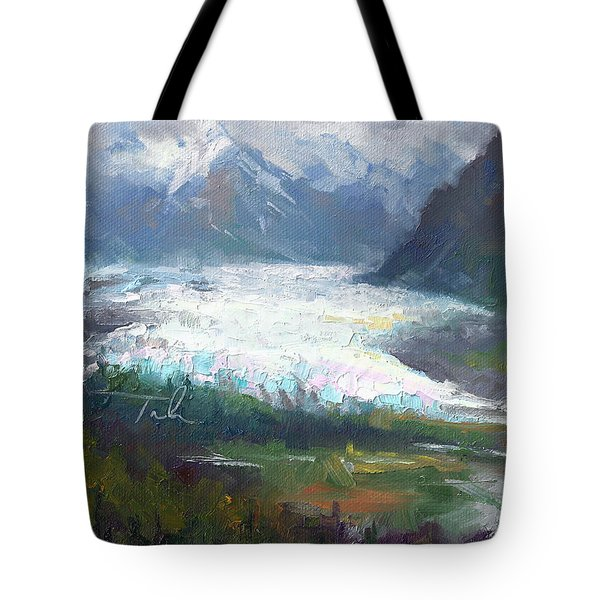 Shifting Light - Matanuska Glacier Tote Bag by Talya Johnson