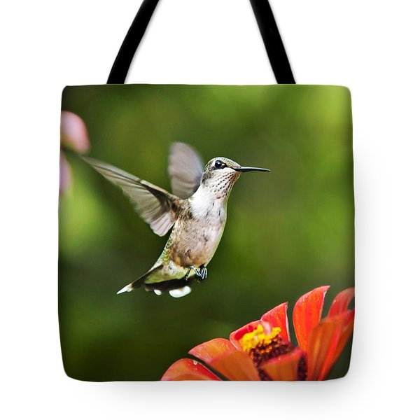 Shimmering Breeze Hummingbird Tote Bag by Christina Rollo