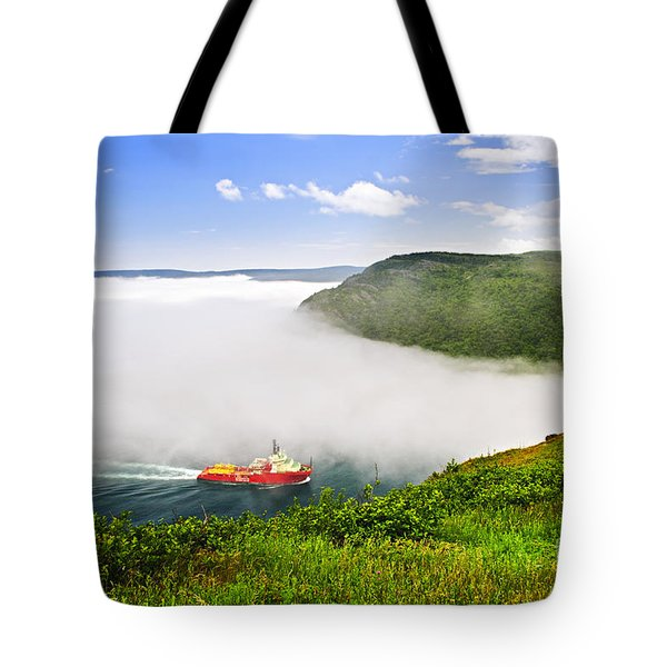 Ship Entering The Narrows Of St John's Tote Bag by Elena Elisseeva