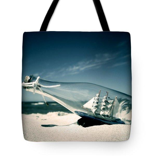 Ship In The Bottle Tote Bag by Michal Bednarek