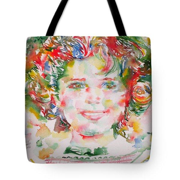 Shirley Temple - Watercolor Portrait.1 Tote Bag by Fabrizio Cassetta