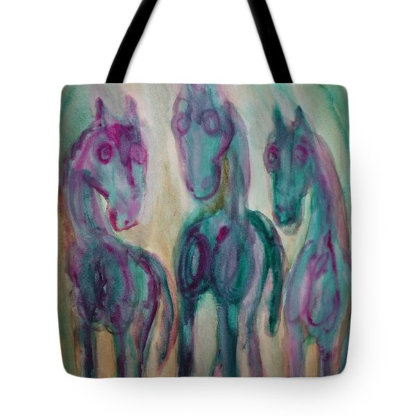 shy horse triangle Tote Bag by Hilde Widerberg