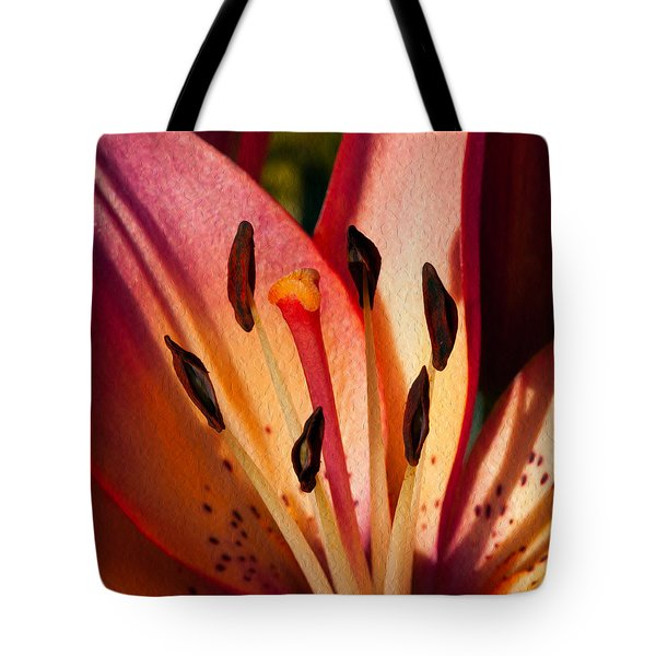Shy Pink Lily Tote Bag by Omaste Witkowski
