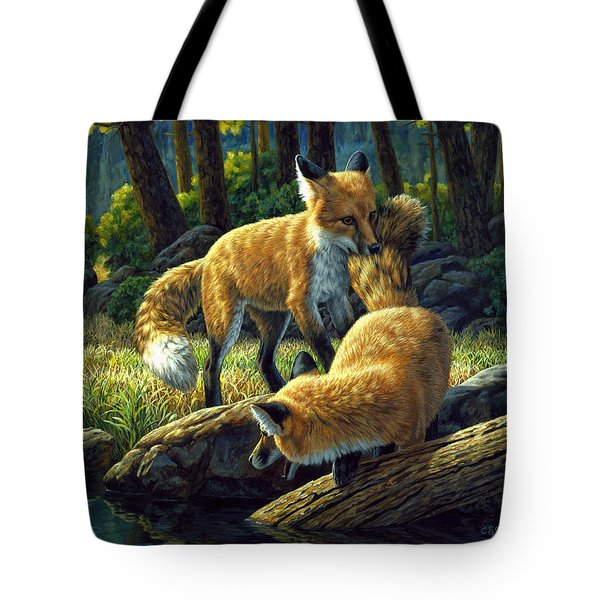 Red Foxes - Sibling Rivalry Tote Bag by Crista Forest
