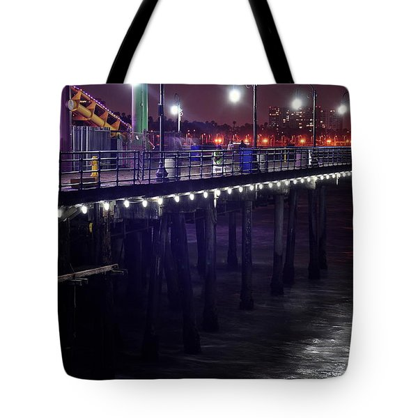 Side Of The Pier - Santa Monica Tote Bag by Gandz Photography