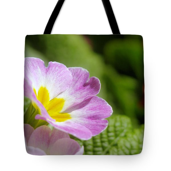 Side View Of A Spring Pansy Tote Bag by Jeff Swan