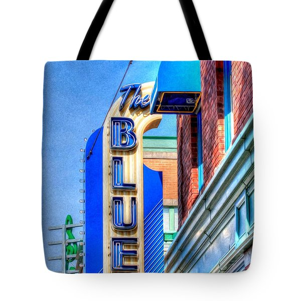 Sign - The Blue Room - Jazz District Tote Bag by Liane Wright