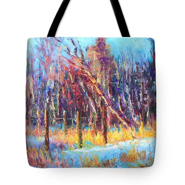 Signs Of Spring - Trees And Snow Kissed By Spring Light Tote Bag by Talya Johnson