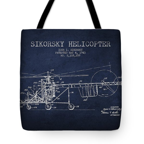 Sikorsky Helicopter Patent Drawing From 1943 Tote Bag by Aged Pixel