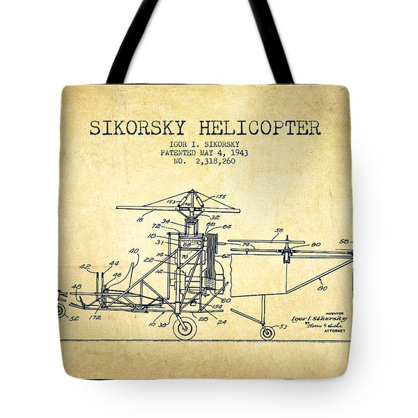 Sikorsky Helicopter Patent Drawing From 1943-vintage Tote Bag by Aged Pixel