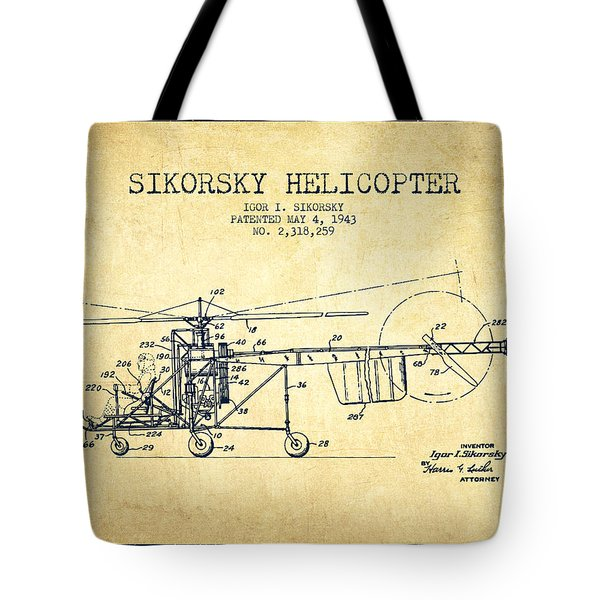 Sikorsky Helicopter Patent Drawing From 1943-vintgae Tote Bag by Aged Pixel