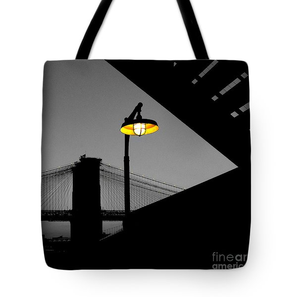 Silhouette Of Brooklyn Bridge New York City Tote Bag by Sabine Jacobs