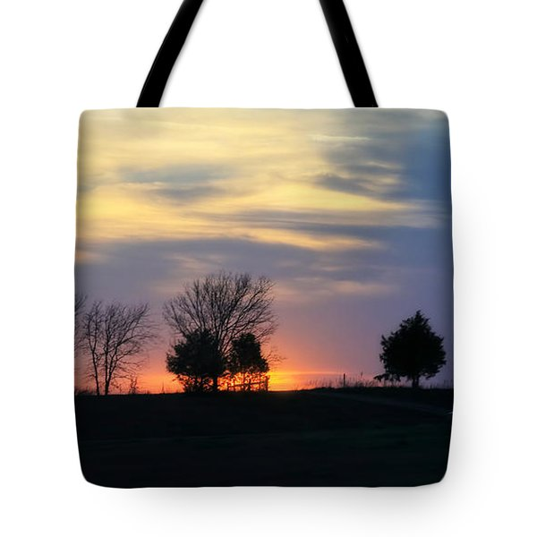 Silhouetts Of A Sunset Tote Bag by Joan Bertucci
