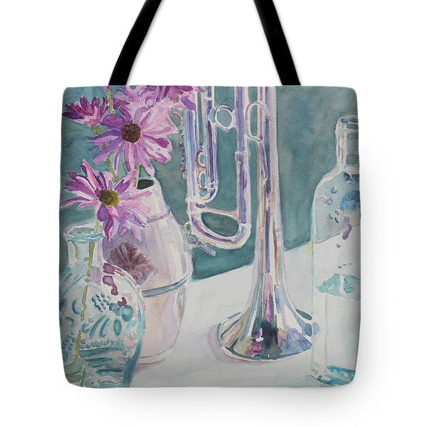Silver And Glass Music Tote Bag by Jenny Armitage